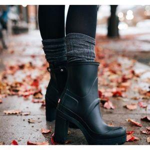 HUNTER original high heel wellie rain boots black